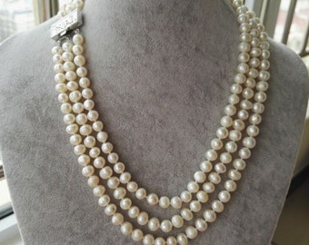 pearl necklace, 3 rows 7-8 mm white freshwater pearl necklace, free shipping