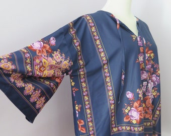 Vintage 1970's Bell Sleeve Hawaiian Style Floral Motif Polyester Blouse, Size 44