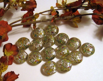 Pink Silver Lampwork Puffed Coin Glass Beads With Green, Yellow, Red, Black Dabs Of Color - Sets of 7