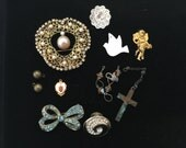 Vintage destash jewelry parts, charms, medals, brooch for repurpose some with rhinestones