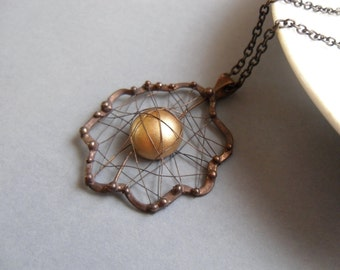 Wire jewelry, golden colored bead, gift for women, copper wire necklace, Treasure