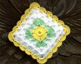 Dollhouse Miniature Pillow Cushion Yellow Flower White Background Crocheted Square Pillow Cushion