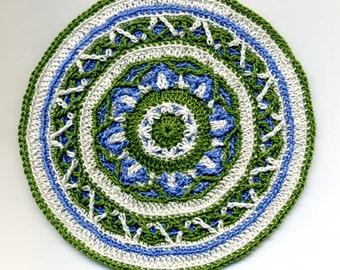 Miniature Round Mandala Mat Carpet Rug - Overlay Crochet - Cream,Dark Green, Blue