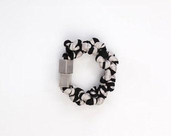 fabric bracelet, twisted cuff, fabric cuff, jersey bracelet, wrap bracelet, black and white jewelry, textile bracelet.
