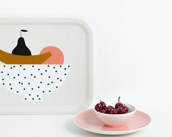 Tray, serving tray, illustration Depeapa, illustrated tray, rectangular tray, fruit platter, melanine tray, birch wooden tray, breakfast