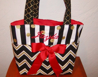 Diaper bag, handbag, purse, book bag..Red N Black Chevron with Name..Customize to match your carseat canopy(see fashionfairytales).