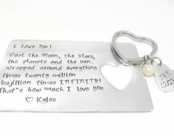 Hand Stamped Aluminum Wallet Card Insert and Heart Key Chain Set, Personalized Gifts by Miss Ashley Jewelry
