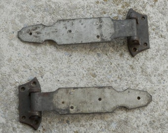 Two Antique Heavy Strap Hinges Cast Iron Strap Steel, Meat Cooler, Walk-n Freezer, Vintage Ice House Hinges, Bernard Gloekler Co, Pittsburgh