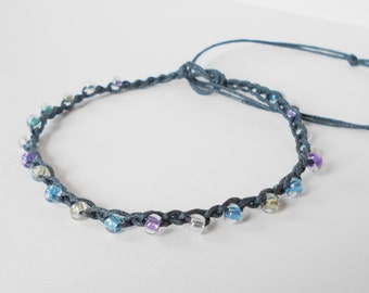 blue anklet, beaded adjustable ankle bracelet, pastel tones seed bead crochet anklet, bohemian surfer style, festival jewelry, beachwear