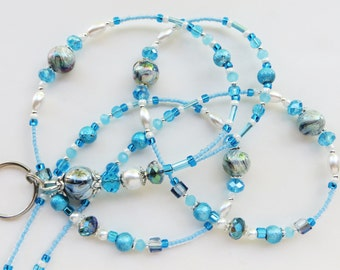 SKY BLUE BEAUTY- Beaded Id Lanyard- Spectra Beads, Glass Pearls, Sparkling Crystals, & Tibetan Silver Accents (Magnetic Clasp)