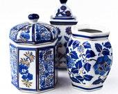 Vintage Ceramic Vase Jar Trinket Box Set - Beautiful Design - Excellent Condition - Great Gift
