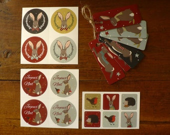 Christmas Bunny  tags and stickers set