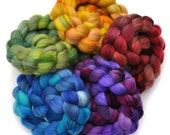 Hand Dyed Roving Rainbow 5-Pack - Merino wool spinning fiber - 10 ounces