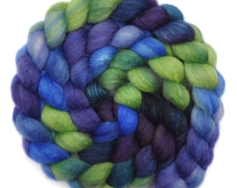 Hand painted spinning fiber - Silk / BFL wool 25/75% roving - 4.1 ounces - Wizard's Son 3