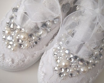 Girls Wedding Shoes - Miniature Bride - flower girl- chic white lace organza- Rhinestone Pearls - eyelet trim - sneakers tennis childrens