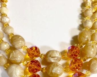 Vintage Triple Stranded Beaded Necklace Choker