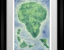 Jurassic Park Map - Colour - Home Decor Art Poster