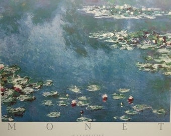 Claude Monet Water Lilies Print 20 x 16 on styrofoam mat Vintage Northwest publishing