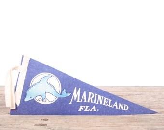 1950s Marineland Florida Pennat / Vintage Felt Pennant / Pennant Banner / Pennant Flag / Blue Dolphin Aquarium Pennant / OldPennant Decor