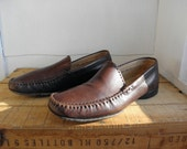 Sz 9 FERRAGAMO Vintage Brown Leather Loafer Shoes MEN