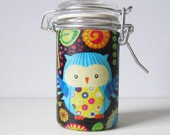 Small Glass Stash Jar : Latch Top Jar - Black Owls Flowers