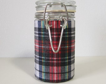 Small Glass Stash Jar : Latch-Top Jar - Christmas Plaid
