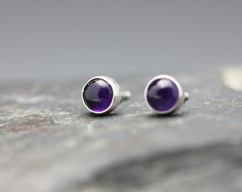 Amethyst Studs, Purple Earrings, Sterling Studs, Minimalist Studs, Unisex Studs