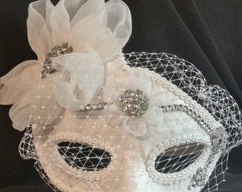 Bridal Mask,White Bridal Masquerade Mask,Ballroom Mask,Half Mask,Satin Crystal Mask