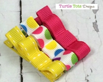 ON SALE Baby Hair Clip- Alligator Clip or Snap Clip - Polka Dots, Pink and Yellow and - Non Slip Grip -Girls, Babies, Toddlers