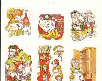 ON SALE Rare Vintage Eureka Nursery Rhymes Sticker Sheet - 80's