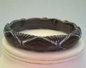 Vintage Gray Bangle of Molded Plastic - 1980s Marbled Grey Bangle Bracelet