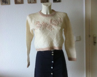 SALE Boho Cropped cream knit sweater with floral embroidery