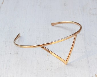 Venus Spike Cuff Bracelet, Gold Upper Arm Cuff, Adjustable Triangle Arm Bracelet, Gold Filled or Sterling Silver Pointed Cuff