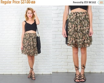 ON SALE Vintage 80s Black Retro Skirt Sheer Layered Mini Floral Print Small Medium S M 5220