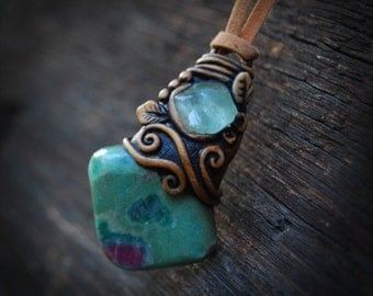 Ruby in fuchsite healing crystal festival epoxy clay Pendant