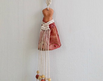 Clay Woman Wall Figurine, Woman Wall Art, Woman Fertility Figurine, Woman Wall Hanging, Woman Woven Amulet, Beaded Macrame Wall Mobile