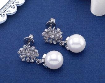 Pearl Earrings, Bridal Earrings, Wedding Earrings, Bridesmaids Jewelry, CZ Earrings, CZ Pearl Earring, Pearl Bridal Earring, Drop Earring