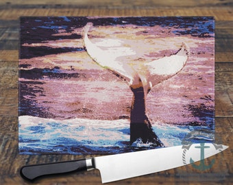 Glass Cutting Board - Whale Tail Beach House Decor | Small or Large Kitchen Art for Your Countertop.
