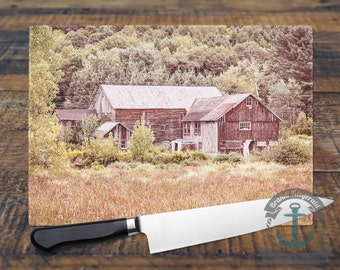 Glass Cutting Board - Cabin in the Woods | Rustic Country Chic Decor | Small or Large Kitchen Art for Your Countertop