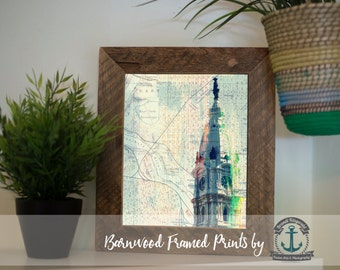 Philadelphia City Hall Vintage Map - Framed Print in Reclaimed Barnwood Inspirational Decor - Handmade 8x10 or 5x7 Ready to Hang & Ship