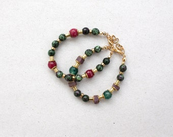 ONE Moss green Zoisite and marsala Rouge Ruby  beads bracelet, beaded bracelet, green bordo bracelet by pardes