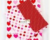 VALENTINE SALE Valentines Pink and Red Hearts Pillow Case Kits