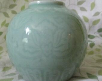 Vintage Asian Celadon Lotus Vase