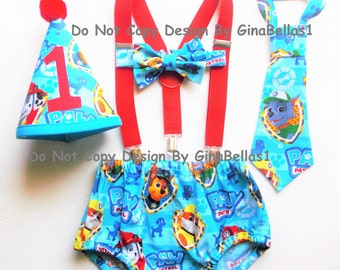 Paw Patrol Birthday cake smash outfit Marshall Rubble Rocky Chase Blue puppy fireman suspenders diaper cover Bow Or Tie Hat 12 18 24 toddler