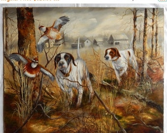 Sale Vintage Landscape Oil Painting Dogs Hunting Pheasant Birds Art O/B SIGNED 1987 Home Decor