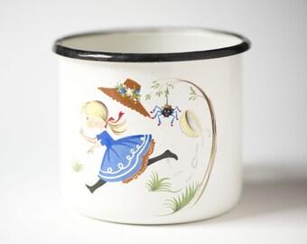 Soviet camping mug for kids, girl and spider cup small for Halloween, white blue enamel camping mug, kitchen decor fun mug 70s Soviet