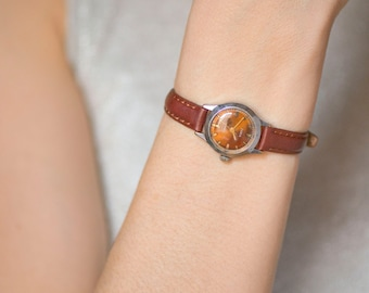 Vintage women's watch Dawn, brown face lady's watch, classy women's watch 70s, Soviet fashionista watch small, premium leather strap new