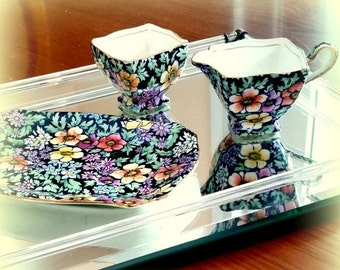 """FALL SALE 1930s """"Anemone"""" Chinz  ROYAL Winton Grimwades - Tray with Ascot Creamer & Open Sugar Bowl - Charming"""