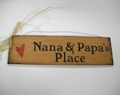 Nana and Papa's Place Hand Stenciled Wooden Wall Art Sign Grandparent grandmother christmas Gifts