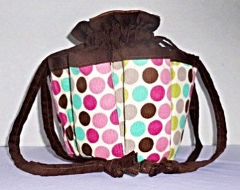 Polka Dot Brown Corduroy Bingo Bag.  Also Great for Craft & Make-up Organizer